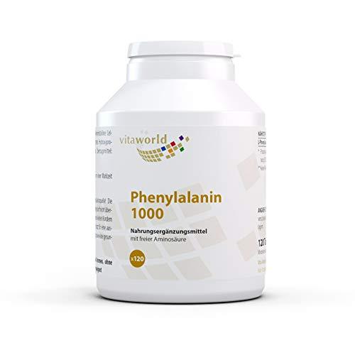 Vita World L-Phenylalanin 1000mg 120 Tabletten - hochdosiert vegan und frei von Magnesiumstearat Deutsche Apotheker Herstellung