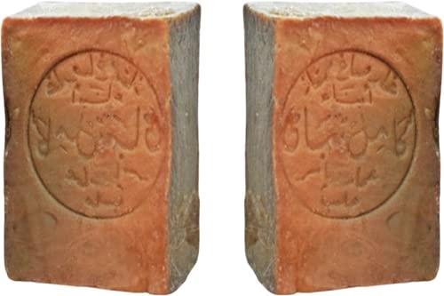 2x Original Aleppo Seife 60%/40% -Olivenöl 60% Lorbeeröl 40% fürs Haar Gesicht & Körper - 100% Naturprodukt Vegane - Alepposeife Olivenölseife Handarbeit 400g - Plastikfreie Verpackung Moè®
