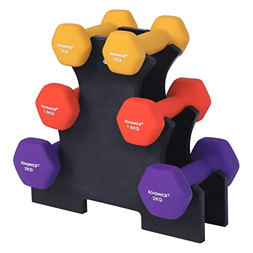 SONGMICS Hanteln Kurzhantel Set, Hexagon, mit Hantelständer, 2 x 1 kg, 2 x 1,5 kg, 2 x 2 kg, mattes...