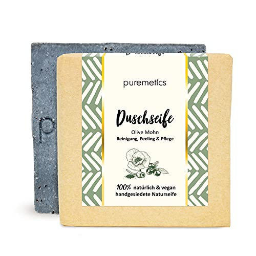 puremetics Zero Waste peelende Dusch-Seife'Olive Mohn' | 100% natürlich, vegan & plastikfrei | Handgesiedete Naturseife zum Duschen | Peeling Seife | Festes Duschgel ohne Plastik