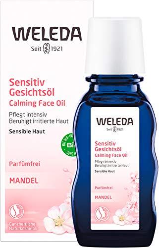 WELEDA Mandel Sensitiv Gesichtsöl, intensives Naturkosmetik Bio Pflegeöl gegen unreine Haut, Hautirritationen und zur Make-up Entfernung, für Neurodermitiker geeignet (1 x 50 ml)