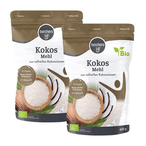 2 x borchers Bio Premium Kokosmehl,zum Kochen und Backen, Ballaststoffreich, Proteinquelle, Entölt, Vegan 400 g (2 x 400 g)