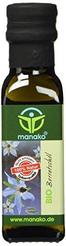 Manako BIO Borretschöl, kaltgepresst, 100% rein, 100 ml Glasflasche (1 x 0,1 l)