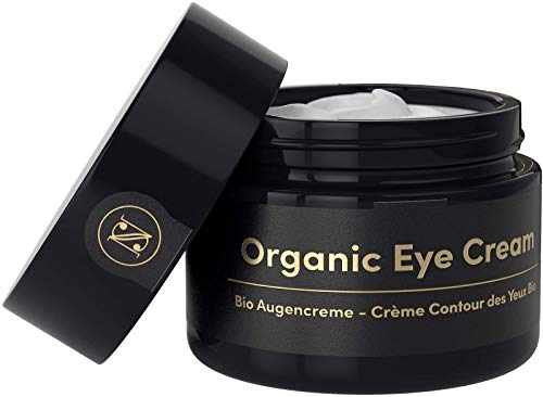 Straffende BIO Augencreme gegen Falten und Augenringe 30ml - Anti Falten Creme mit Arganöl Hyaluronsäure Aloe Vera Vitamin E – Satin Naturel Anti-Aging Naturkosmetik Made in Germany