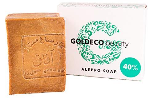 GOLDECO Original Aleppo Seife 60% Olivenöl und 40% Lorbeeröl, traditionelle Handarbeit, vegan, 200g