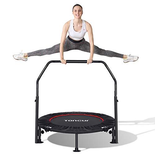 Toncur Fitness-Trampolin Ø ca 102 cm, Faltbarer Rebounder, 5-Fach höhenverstellbarer Haltegriff, Nutzergewicht bis 150kg, inkl.6 Saugnäpfe, leises Trainingstrampolin für Indoor Outdoor Jumping (ST-01)