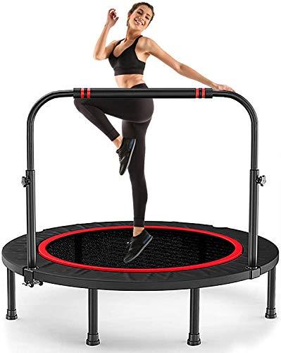 Fitness Trampolin Ø ca 102 cm,Jumping Fitness Trampolin Indoor,Fitness Trampolin Klappbar,Fitness Trampolin mit Höhenverstellbarer Haltegriff,Sport Trampolin Erwachsene Maximale Belastung bis 150kg