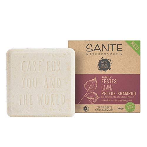 Festes Shampoo von SANTE Naturkosmetik, Glanz-Pflege Shampoo Bar mit Bio-Birkenblatt & pflanzlichem...