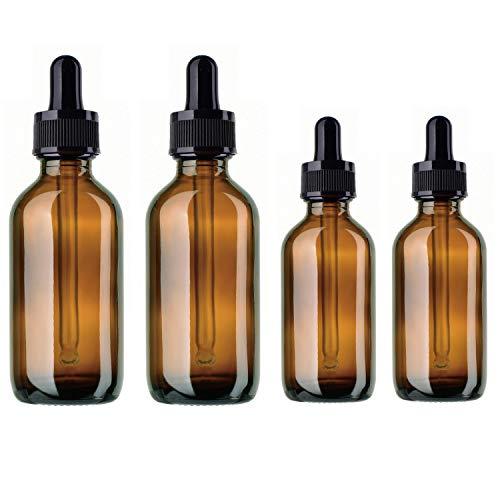 BlueXP 4 Stück 10ml 20ml Leer Braun Glasaugentropfflasche Boston Round Flaschen mit Tropfer Pipetten für ätherische Öle Parfüms Laborchemikalien Reagenzien Pharmazeutika