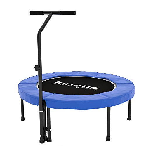 Kinetic Sports Fitness Trampolin Indoor, Durchmesser 100cm, rund höhenverstellbarer Haltegriff, Gummiseilfederung, Randabdeckung blau, belastbar bis 120 kg