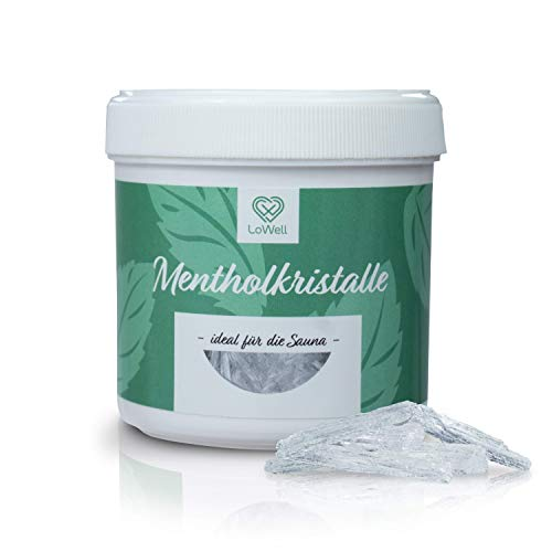 LoWell® 100g Mentholkristalle in wiederverschließbarer Dose - Sauna Kristalle Saunakristalle Minzkristalle Menthol - 100% Minzöl