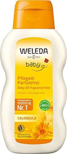 WELEDA Baby Calendula Pflegeöl Parfümfrei, Naturkosmetik Babyöl für die Pflege, Reinigung und Massage von Babys, Schutz vor Hautreizungen, Wundwerden und trockener Haut im Windelbereich (1 x 200 ml)