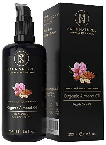 Bio Mandelöl Vegan + Kaltgepresst - 100% Rein & Natürlich - 200ml Lichtschutz Glas-Flasche - Feuchtigkeitspflege für Weiche Haut, Gesunde Haare & Nägel – SatinNaturel Naturkosmetik