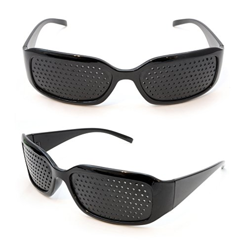 Raster-Brille/Loch-Brille für Augen-Training und Entspannung im 2er Set, Gitter-Brille mit faltbaren Bügeln, Form A, Farbe: Schwarz