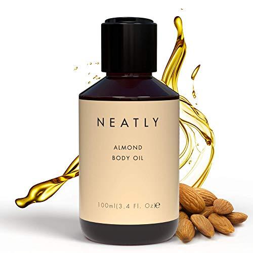 NEATLY Bio Mandelöl - Süßes Mandelöl für Haut und Haare, Ideal als Mandelöl Baby oder Mandelöl Haare, Veganes Mandelöl Bio Kaltgepresst für sanfte Bio Oil Skincare/Körperpflege, Sweet Almond Oil 100ml