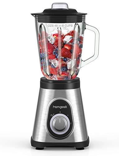 Standmixer Smoothie Mixer, homgeek 1.5L Glas Smoothie Blender, 700 watt Hochleistungsmixer, 27,000 UpM, Extrem Leise, Einfache Reinigung