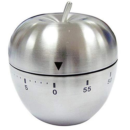 Xinlie Kurzzeitwecker Mechanisch Küchenwecker Kurzzeitmesser Edelstahl Küchentimer 60 Minuten Apple Shaped Kochen Backen Mechanischer Wecker Countdown Timer für Büro Schlafzimmer Wohnzimmer Küche