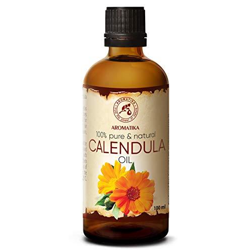 Calendulaöl 100ml - Calendula Officinalis - 100% Rein und Natürlich - Ringelblumen Öl für Gesicht - Haare- Haut - Nägel - Hände - für Schönheit - Massage - Wellness - Kosmetik - Körperpflege