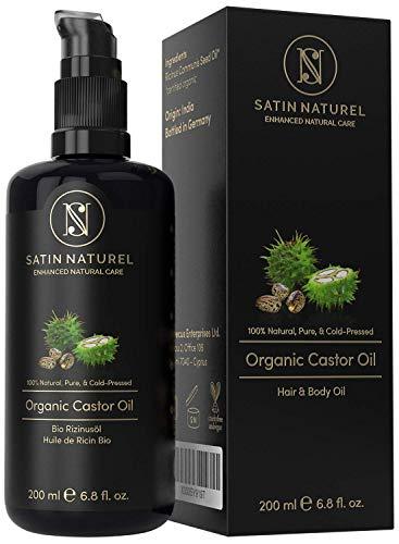 BIO Rizinusöl Vegan + Kaltgepresst für Haut, Haare & Wimpernwachstum - 200ml Lichtschutz Glasflasche - 100% Rein, Natürlich & Nativ – Satin Naturel Naturkosmetik