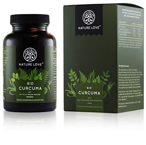 NATURE LOVE® Bio Curcuma - 240 Kapseln. 4540mg Kurkuma + schwarzer Pfeffer je Tagesdosis. Curcumin...