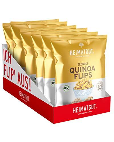 HEIMATGUT® Bio Erdnuss-Quinoa Flips | Vegane & im Ofen gebackene Flips mit 10g Protein pro 100g | Ohne Palmöl & Gentechnik | Glutenfrei, Zuckerarm & Ohne Künstliche Zusätze (6 x 115g)