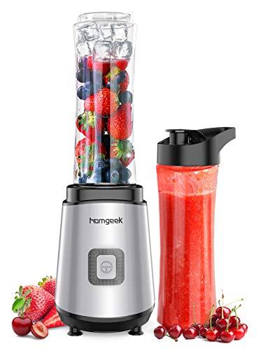 Homgeek Mixer Smoothie Maker, Standmixer mit 2 x 600 ml BPA-freien Trinkflaschen, Shake Mixer für Shakes, Smoothies, Eis und Babynahrung, 25.000 U/min, 400 W, Silber