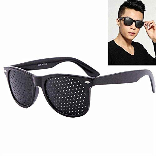 Kobwa Rasterbrille Lochbrille Pinhole Vision Korrekturgläser Anti-Müdigkeits Brille Anti-Myopie Sonnenbrille,Schwarz