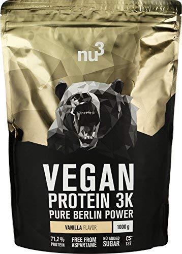 nu3 Vegan Protein 3K Shake - 1 Kg Vanilla Blend - veganes Eiweisspulver aus 3-Komponenten-Protein...