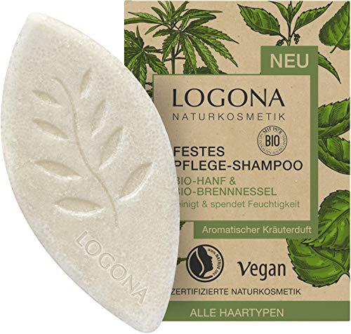 Festes Pflege Shampoo von LOGONA Naturkosmetik Bio-Hanf & Bio-Brennnessel, Feuchtigkeit Shampoo Bar...