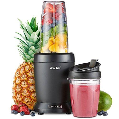 VonShef Personal Blender Multifunktionaler, leistungsstarker Smoothie-Mixer für Obst, Gemüse, Shakes und Eis-Zerkleinerer. Mit 800 ml und 500 ml tragbaren Bechern - 1000 W