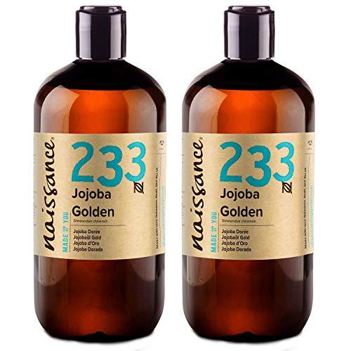 Naissance Jojobaöl Gold (Nr. 233) 1 Liter (2 x 500ml) 100% reines, kaltgepresstes Öl