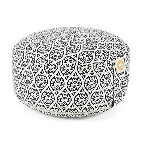 Lotuscrafts Yogakissen Meditationskissen Rund Lotus - Sitzhöhe 15cm - Waschbarer Bezug aus Baumwolle - Yoga Sitzkissen mit Dinkelfüllung - GOTS Zertifiziert (Block Print Edition)