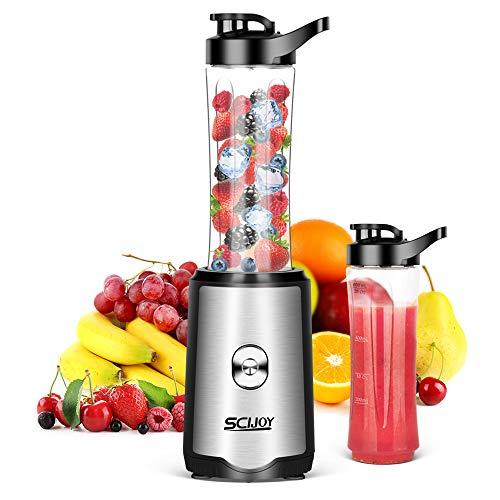 Mixer Smoothie Maker, SCIJOY 350W Aktualisierung Standmixer, Mini Shake Maker, Multifunktion Smoothiemaker mit 2x600ml Sport-Flasche BPA frei Tritan für Smoothie Getränk von Obst Gemüse