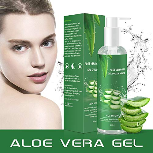 Aloe Vera Gel - 100% Bio für Gesicht Haare Körper,Feuchtigkeitscreme für Sonnenbrand Reparieren,Natürliche Feuchtigkeitspflege Aloe Vera Creme für trockene strapazierte Empfindliche Haut-250MLMEHRWEG