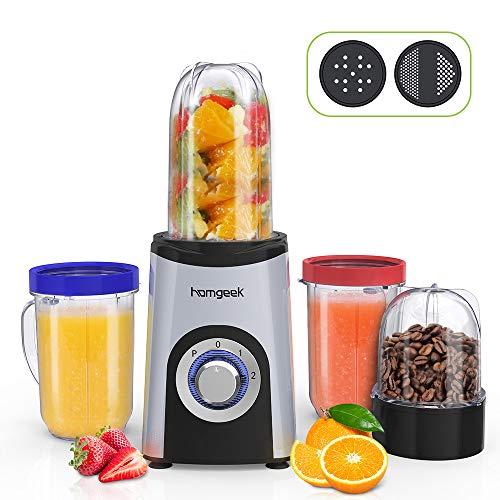 homgeek Mixer Smoothie Maker mit 2 Stufe, Mini Standmixer mit 1x 500ml, 2x 400ml und 1x 200ml BPA-frei Mix Cup, Smoothie Blender mit Kreuz- und Flachklinge für Obst und Gemüse, 350 Watt, Silbergrau