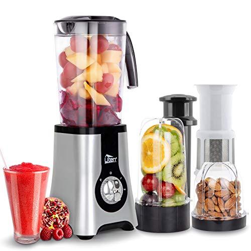 Uten Standmixer Mixer Smoothie Maker,Entsafte Fleisch/Impuls-/Ice-Crush Funktion, Elektrisch edelstahl professioneller Blender für die Küche, 2x Flasche,2x Container (220W,22000U/Min)