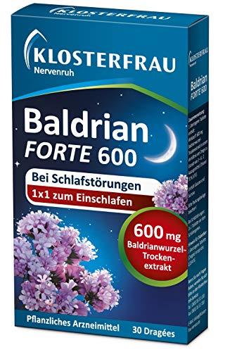 Klosterfrau Nervenruh Baldrian forte 600 | bei Schlafstörungen | für körperliche Regeneration | mit Baldrianwurzel-Trockenextrakt | 30 Stück