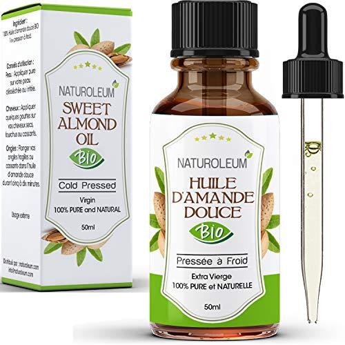 BIO Mandelöl Süß,100% rein und natürlich, kaltgepresst, Extra Virgin - Pflege für Körper, Haut, Gesicht, Haare. Vegan (50ml)