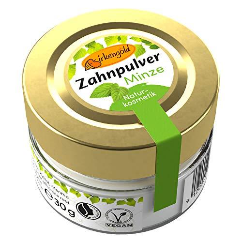 Birkengold Zahnpulver Minze 30 g Glas | Plastikfrei | 100% Natürliche Zutaten