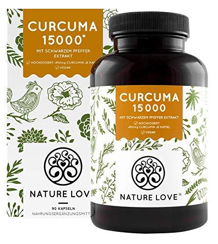 NATURE LOVE® Curcuma Extrakt - Curcumin Gehalt EINER Kapsel entspricht dem von ca. 15.000mg Kurkuma...