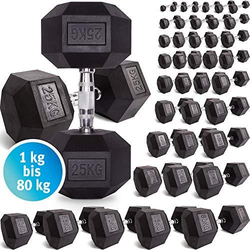 C.P. Sports Hexagon Kurzhantel Gummi 1-60 kg - mit Beschichtung und ergonomischen Chrom-Griff,...