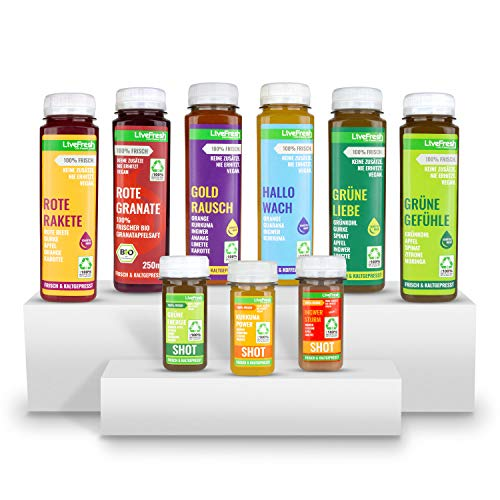 LiveFresh® Saftkur für 3 Tage - 9 Geschmackssorten - Deutsche Herstellung - auch für 7 Tage erhältlich - reich an wichtigen und frischen Vitaminen - ohne Zuckerzusatz und Zusatzstoffe - nachhaltig