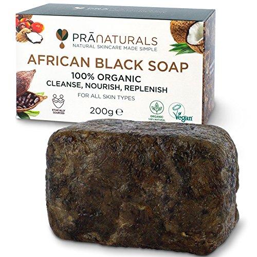 PraNaturals Organisch Afrikanische Schwarze Seife 200g, Vegan Kosmetik, Für Alle Hauttypen, Handgefertigt Im Tropischen Ghana