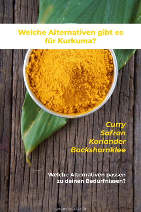 Kurkuma kannst du mit Curry, Safran, Koriander oder Bockshornklee ersetzen. Je nachdem, welche Bedürfnisse du hast.